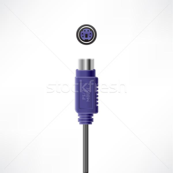 Kabel komputerowy wtyczkę myszą gniazdo komputera sprzętu Zdjęcia stock © Vectorminator