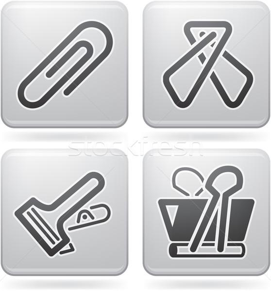 Iroda ellátás ikon szett platina Stock fotó © Vectorminator