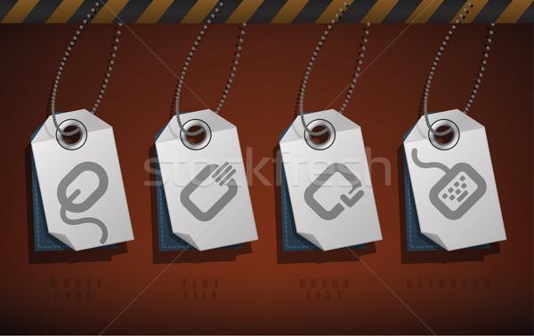 Сток-фото: компьютер · Этикетки · различный · файла · здесь · право