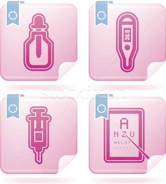 здравоохранения иконки синий право бутылку Сток-фото © Vectorminator