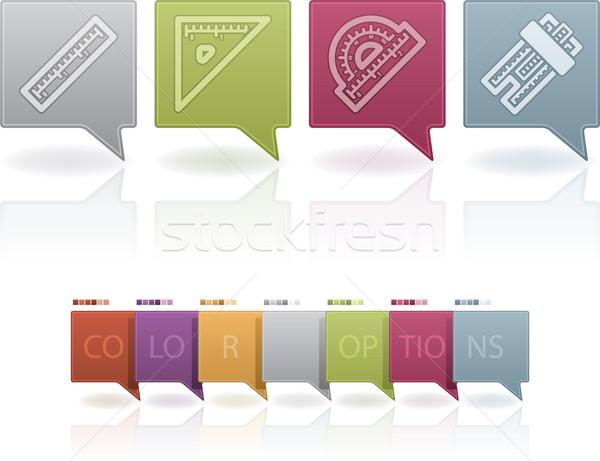 Escritório fornecer objetos governante praça transferidor Foto stock © Vectorminator