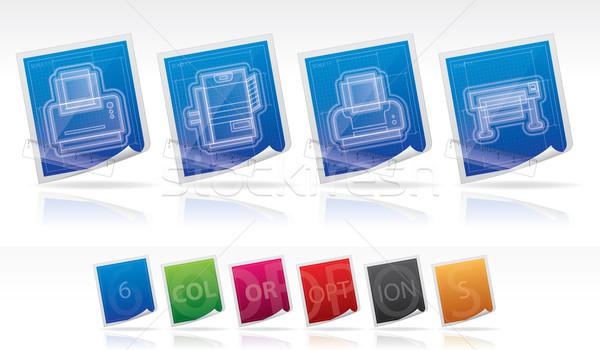компьютер здесь право принтер Сток-фото © Vectorminator