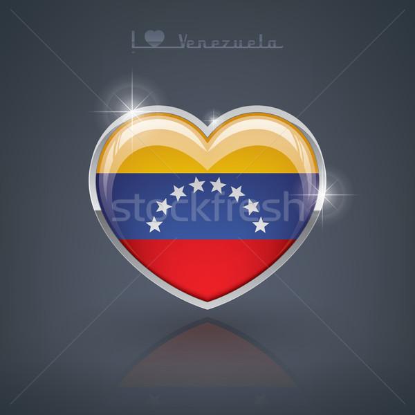 Venezuela glanzend hartvorm vlaggen republiek hart Stockfoto © Vectorminator