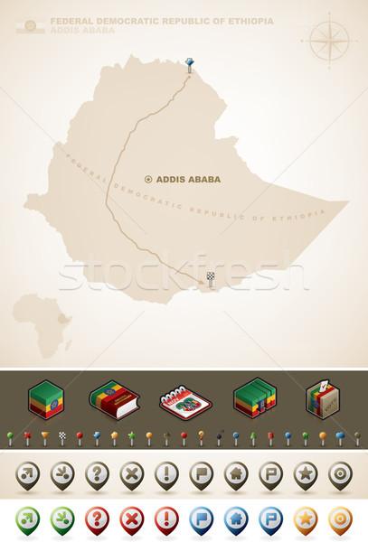 Etiyopya federal demokratik cumhuriyet Afrika haritaları Stok fotoğraf © Vectorminator