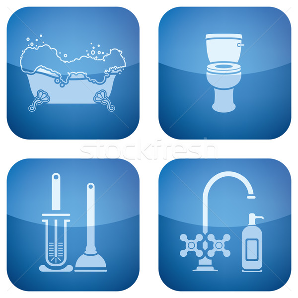Cobalt Square 2D Icons Set: Bathroom Stock photo © Vectorminator
