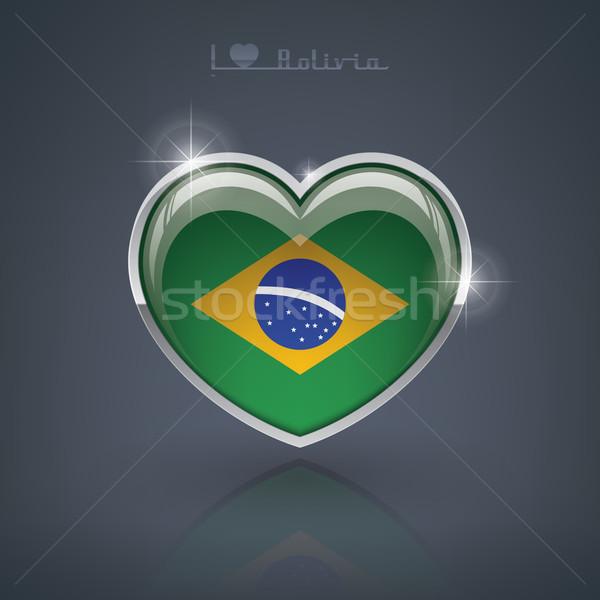 Бразилия формы сердца флагами республика сердце Сток-фото © Vectorminator
