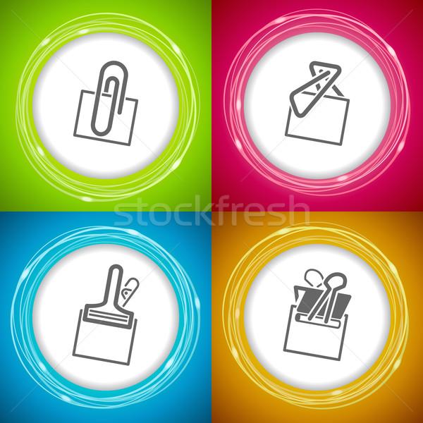 Kantoor leveren objecten verschillend paperclip atoom Stockfoto © Vectorminator