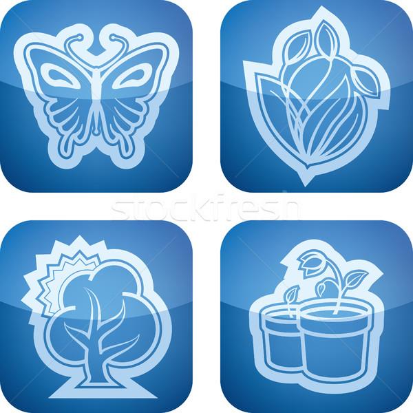Voorjaar vier iconen top bodem Stockfoto © Vectorminator