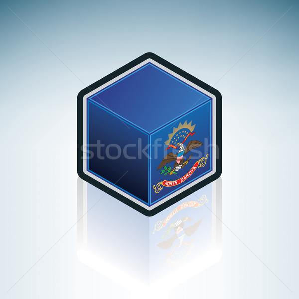 Kuzey Dakota bayrak Amerika Birleşik Devletleri Amerika 3D izometrik Stok fotoğraf © Vectorminator