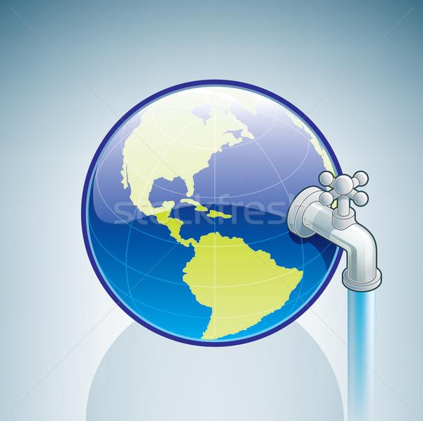 世界中 給水栓 3D アイソメトリック 水 ストックフォト © Vectorminator