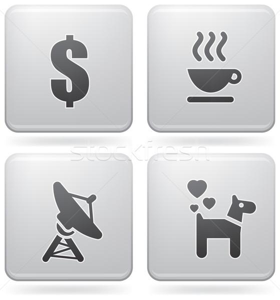 Internet pictogrammen alledaags iconen dollarteken koffiekopje schotelantenne Stockfoto © Vectorminator