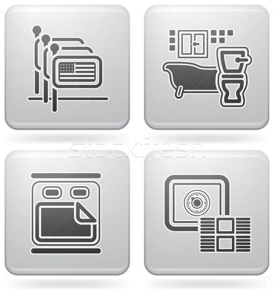 Hotel ikonok különböző személyzet fürdőszoba ablak Stock fotó © Vectorminator