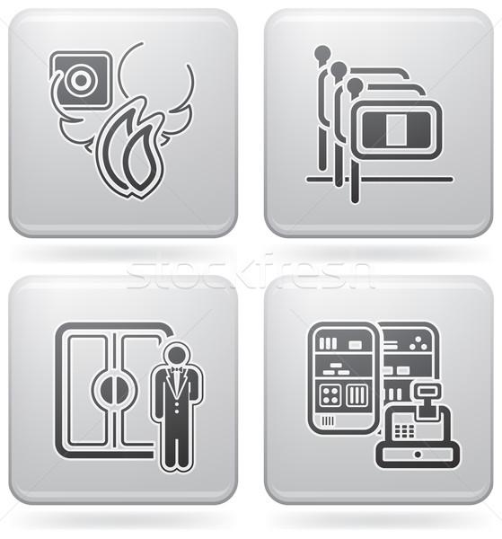 Hotel iconen brandmelder personeel porter Stockfoto © Vectorminator