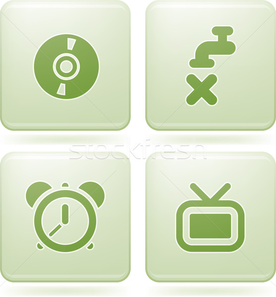 Olivine Square 2D Icons Set Stock photo © Vectorminator