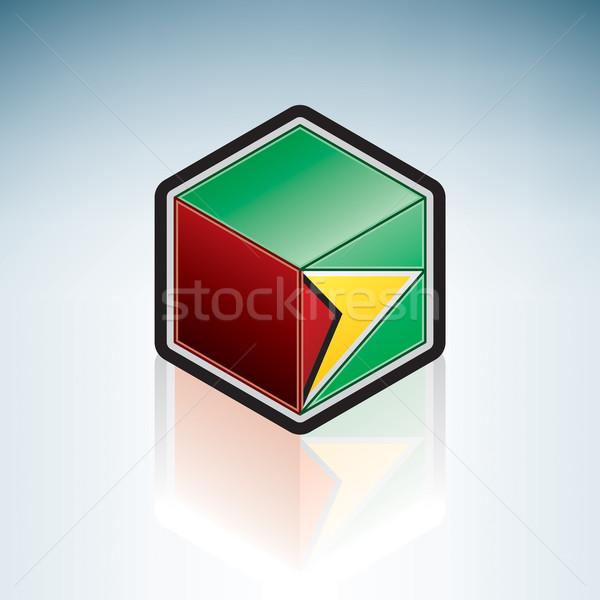 Гайана Южной Америке флаг республика 3D изометрический Сток-фото © Vectorminator
