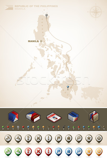 共和国 フィリピン アジア マップ プラス 余分な ストックフォト © Vectorminator
