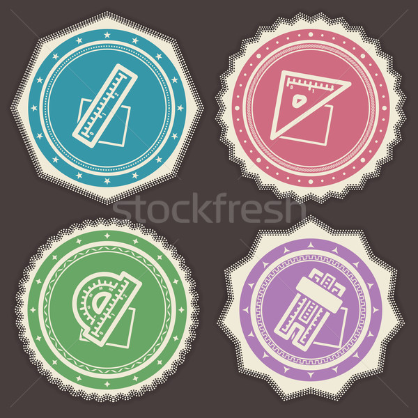 Oficina suministrar objetos gobernante cuadrados transportador Foto stock © Vectorminator