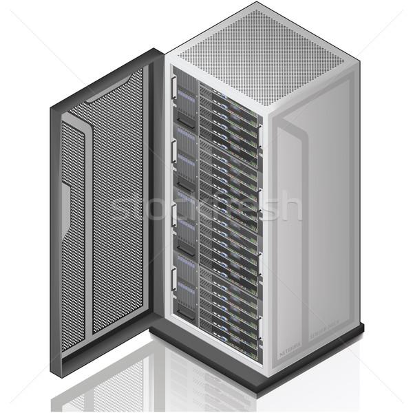 Hálózat szerver rack izometrikus 3D ikon számítógép Stock fotó © Vectorminator