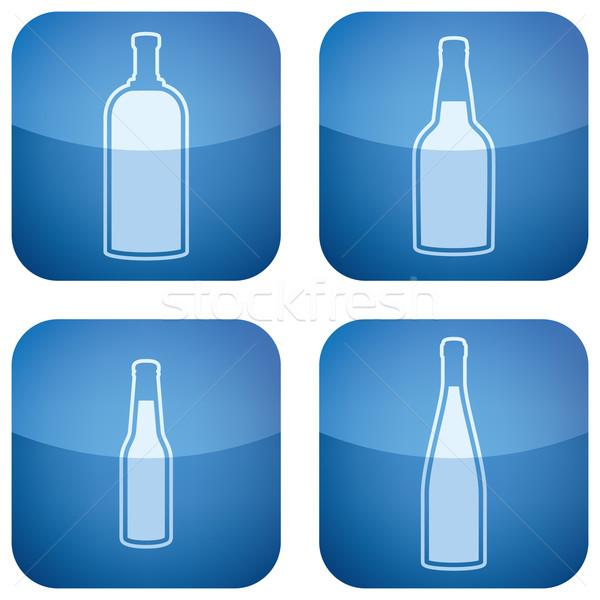 Alkol şişeler bira votka kobalt Stok fotoğraf © Vectorminator