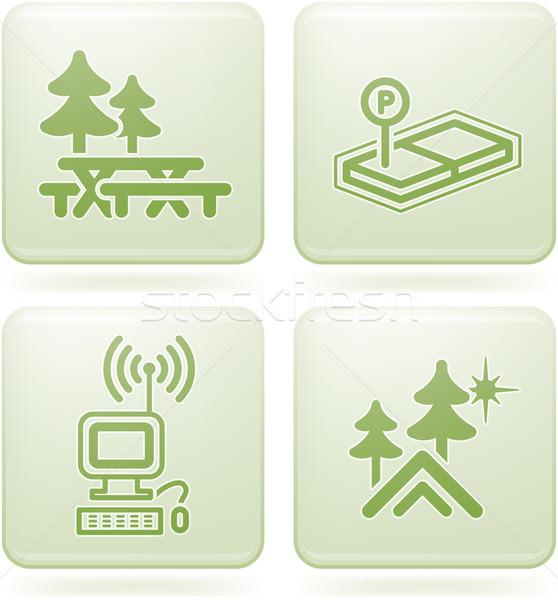 Conjunto camping ícones piquenique concreto Foto stock © Vectorminator
