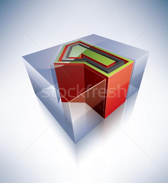 3D alphabet: 1 Stock photo © Vectorminator