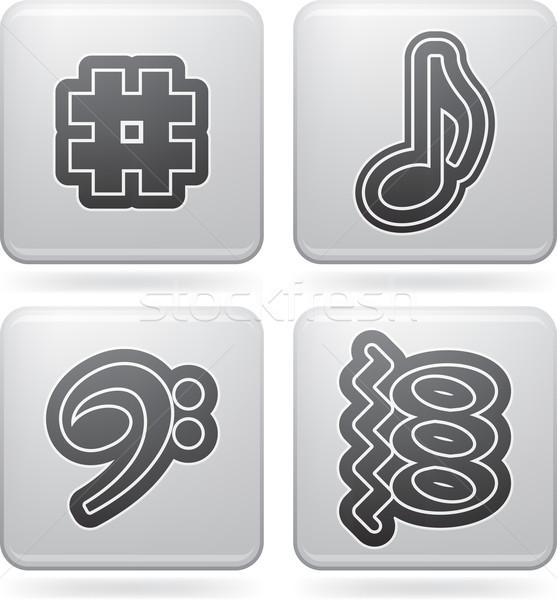 Müzikal müzik yazılı semboller burada doğru Stok fotoğraf © Vectorminator