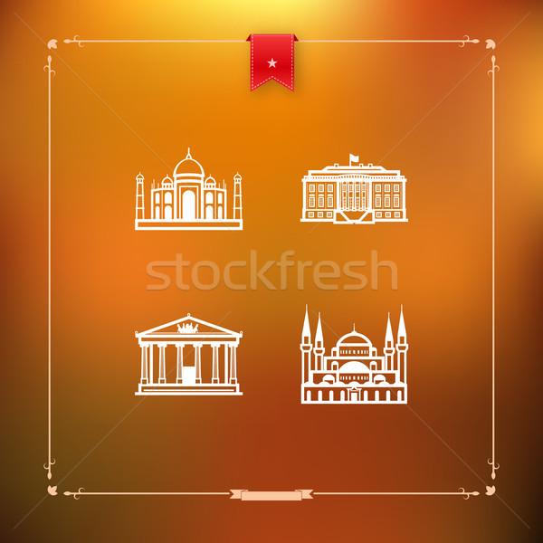 Mundo famoso arquitectura alrededor Taj Mahal India Foto stock © Vectorminator