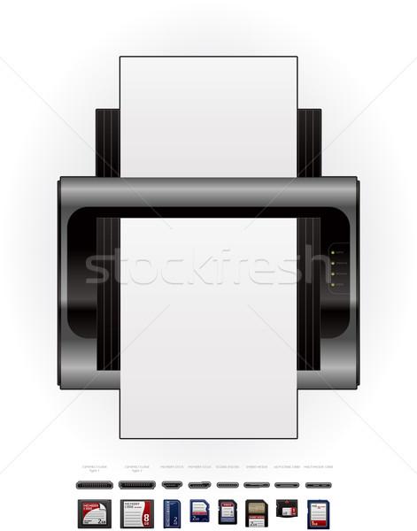 LaserJet Printer & Memory Cards Stock photo © Vectorminator