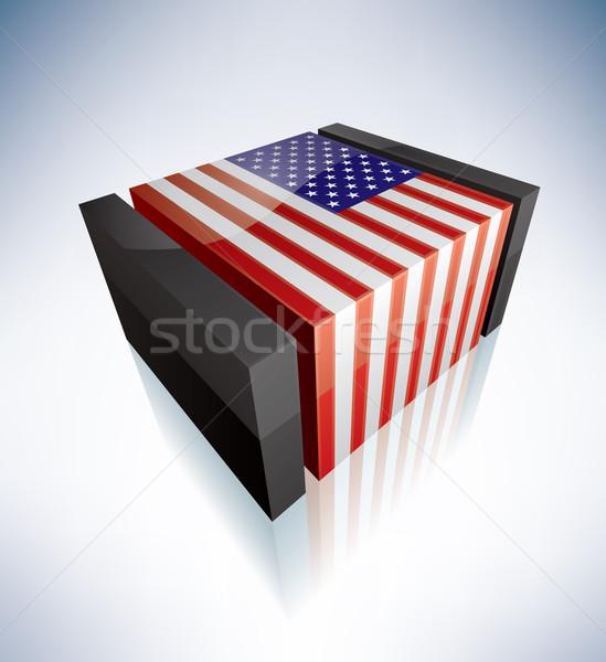 Сток-фото: флаг · США · 3D · Соединенные · Штаты · Америки · флагами