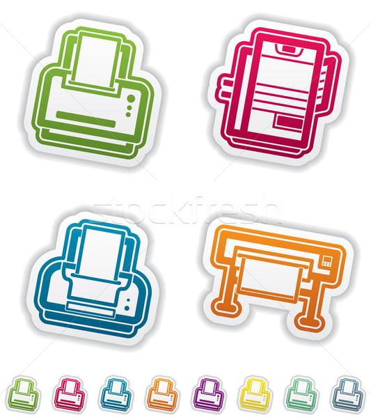 Ordinateur ici imprimante Photo stock © Vectorminator