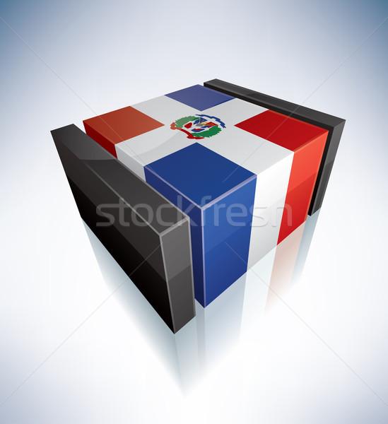 3D bayrak Dominik Cumhuriyeti bayraklar caribbean Stok fotoğraf © Vectorminator