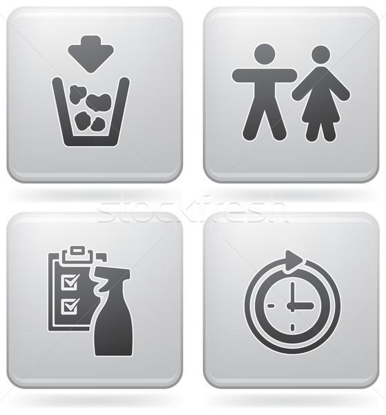 Kempingezés ikonok különböző hulladék wc tiszta Stock fotó © Vectorminator