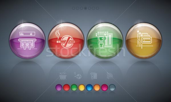 Hotel ikonok különböző szolgáltatások itt helyes Stock fotó © Vectorminator