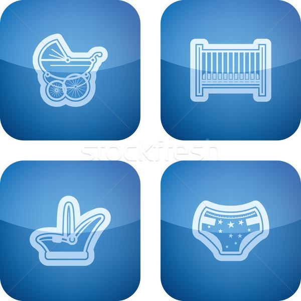 Bebé nacido cuatro iconos relación tiempo Foto stock © vectorminator
