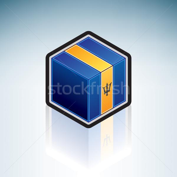 Barbados latin amerika bayrak 3D izometrik stil Stok fotoğraf © Vectorminator