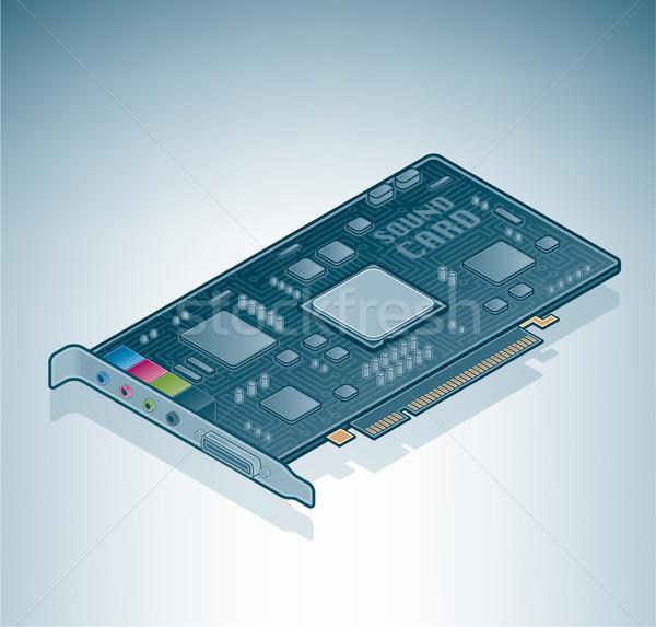 Сток-фото: компьютер · звук · карт · изометрический · 3D · аппаратных