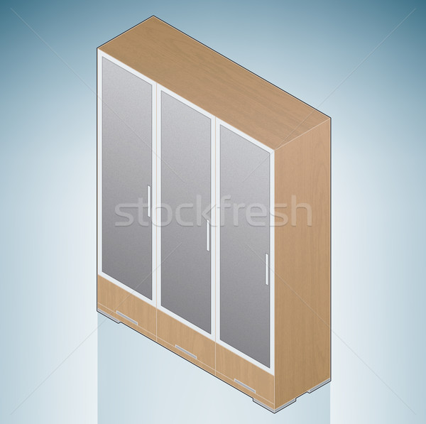 Furniture: Bedroom Cupboard with Glass Doors Stock photo © Vectorminator