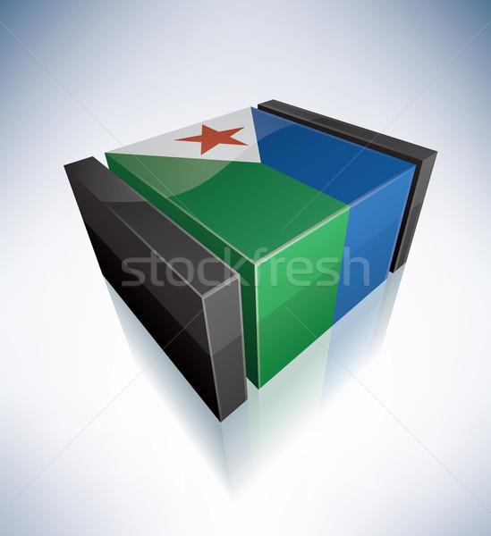 3D banderą Dżibuti Afryki republika flagi Zdjęcia stock © Vectorminator