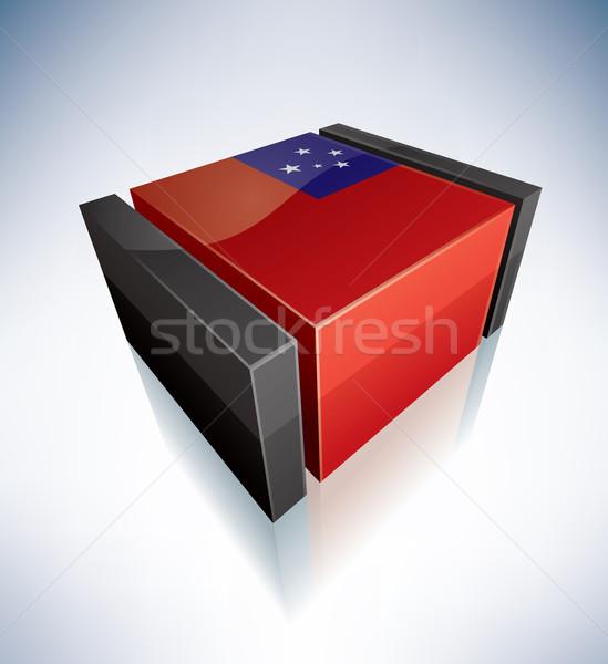 3D bayrak Samoa polinezya bağımsız bayraklar Stok fotoğraf © Vectorminator