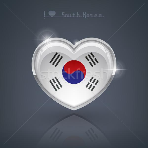 Южная Корея формы сердца флагами республика сердце Сток-фото © Vectorminator