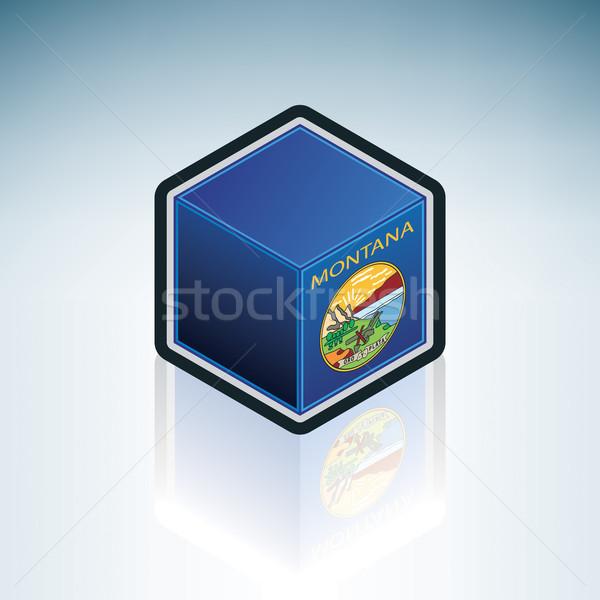 Montana zászló Egyesült Államok Amerika 3D izometrikus Stock fotó © Vectorminator