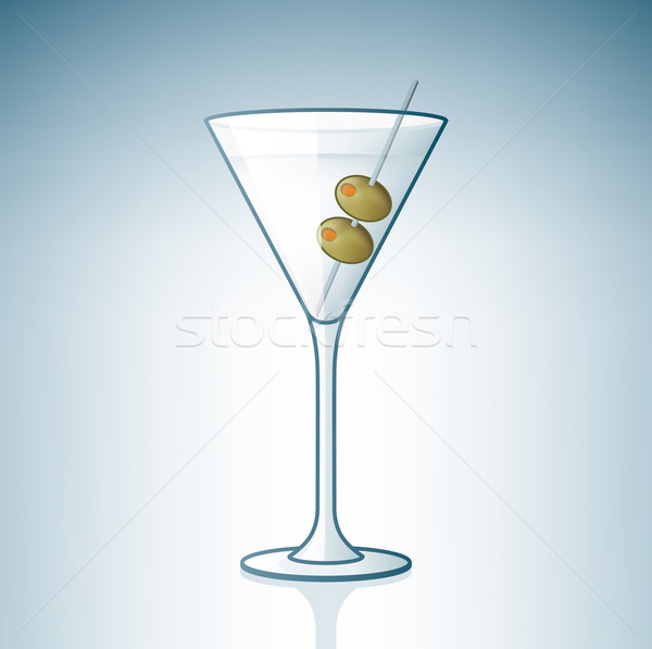 Martinis pohár olajbogyók alkohol üveg ikon szett kék Stock fotó © Vectorminator