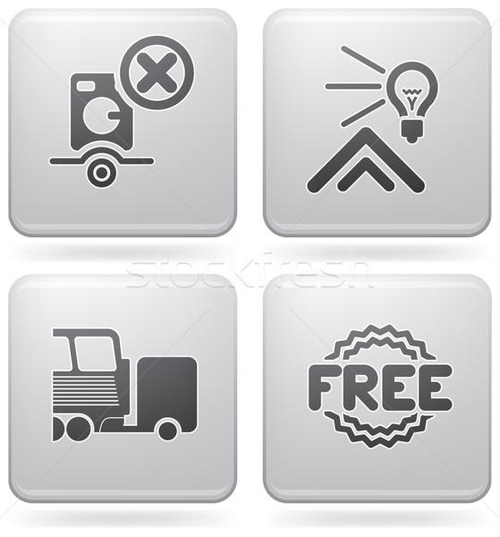 Kempingezés ikonok különböző hordozható mosógép park Stock fotó © Vectorminator