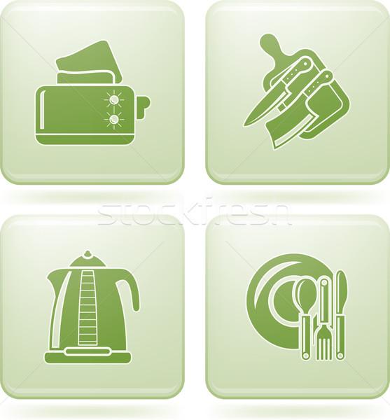 Stock photo: Olivine Square 2D Icons Set: Kitchen Utensils