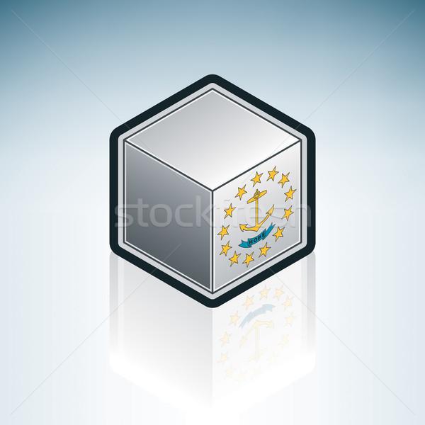 Иллинойс флаг Соединенные Штаты Америки 3D изометрический Сток-фото © Vectorminator