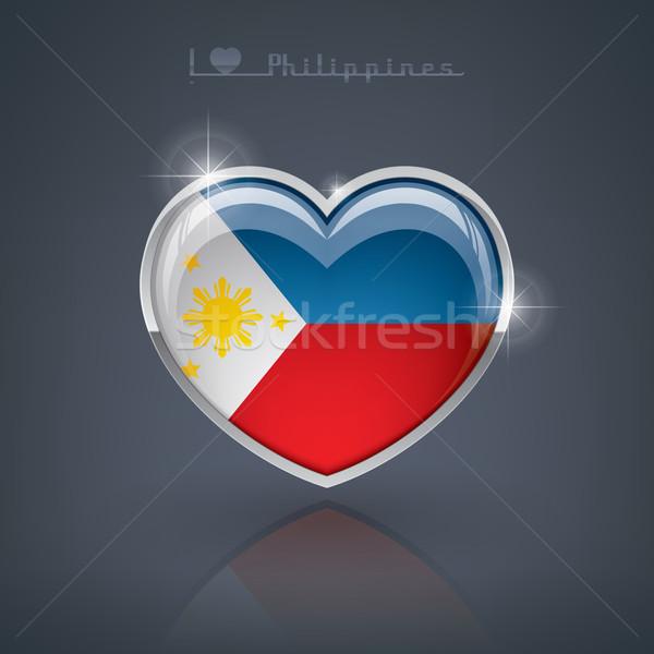 Philippines forme de coeur drapeaux république coeur Photo stock © Vectorminator