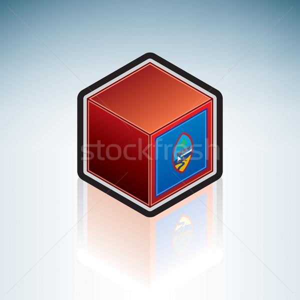 Гуам Океания флаг 3D изометрический стиль Сток-фото © Vectorminator
