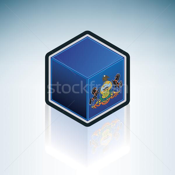 Pensilvânia bandeira Estados Unidos américa 3D isométrica Foto stock © Vectorminator