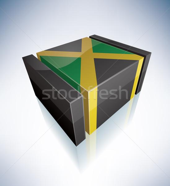 3D vlag Jamaica caribbean vlaggen Stockfoto © Vectorminator