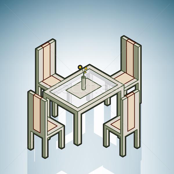 Foto stock: Mesa · de · jantar · moderno · mobiliário · isométrica · 3D